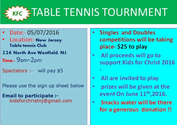 KFCNJ Table Tennis Tournment